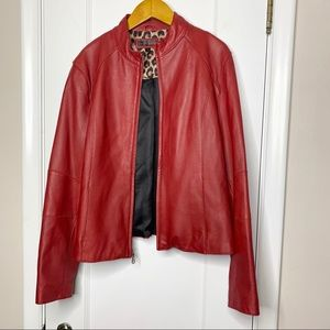 Wilson's Leather red leather moto jacket L